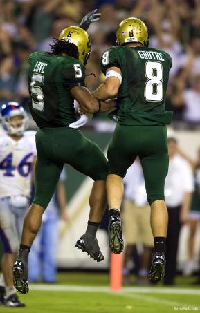 USF QB Matt Grothe & WR AJ Love celebrate a TD | Kansas 2008