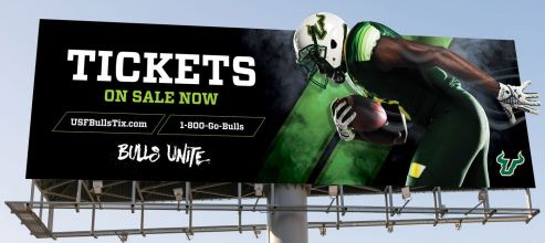 TDS-A Call To Arms, USF. Buy Season Tickets Today. Because It's Now or Never. USF Football Billboard 2016 (1444x645)