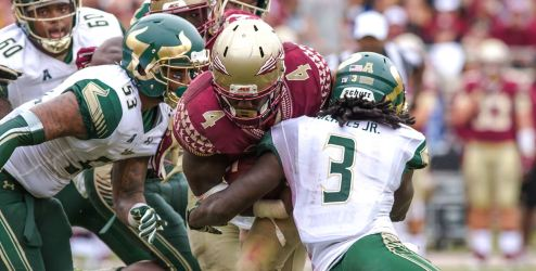 The 2016 FSU USF Showdown Likely Best of Series Deatrick Nichols tackles Dalvin Cook by Matthew Manuri SoFloBulls.com (1899x964)