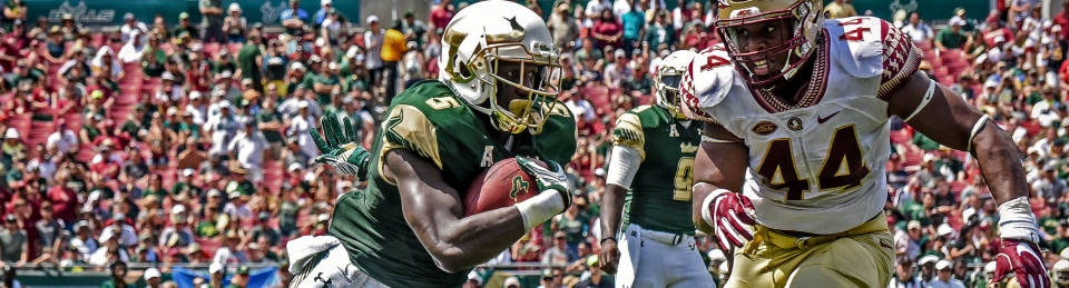 FSU vs USF 2016 - Marlon Mack with Demarcus Walker in hot pursuit Header Image [Photo Credit Dennis Akers] (960x259)