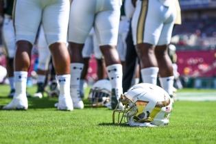 FSU vs USF 2016 38 - New White USF Football Helmet 2016 1 by Dennis Akers (4512x3008)