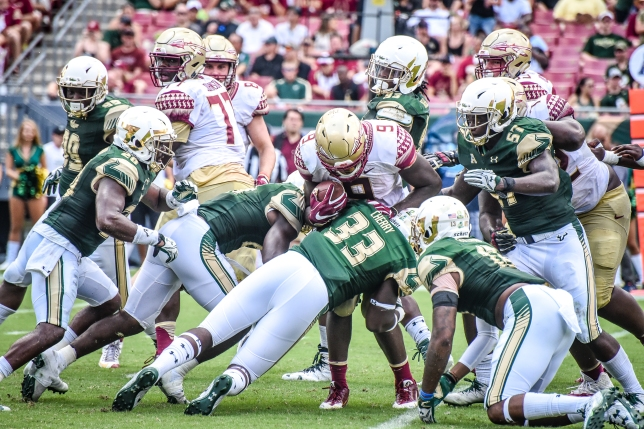 FSU vs USF 2016 93 - Jaques Patrick stuffed by Cecil Cherry and Jaymon Thomas by Dennis Akers (4512x3008)