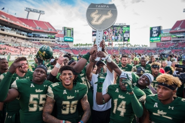 103 - USF vs. UCF 2016 - USF Head Coach Willie Taggart Nate Godwin Josh Black Deangelo Antoine Nate Ferguson #WarOnI4 Trophy by Dennis Akers | SoFloBulls.com (6016x4016)