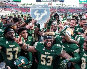 105 - USF vs. UCF 2016 - USF Head Coach Willie Taggart Nigel Harris Danny Thomas #WarOnI4 Trophy by Dennis Akers | SoFloBulls.com (3954x3163)