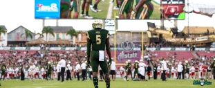 USF RB Marlon Mack Stands Midfield before NIU vs. USF 2016 Facebook Image by Matthew Manuri | SoFloBulls.com (3568x1462)