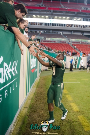 139 - Illinois vs. USF 2017 - USF QB Quinton Flowers High Fiving Fans in Stands by Dennis Akers | SoFloBulls.com (3232x4841)