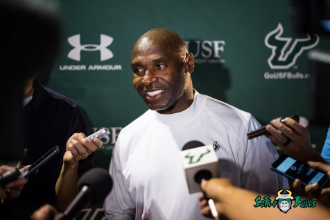 147 - USF vs. San Jose State 2017 - USF HC Charlie Strong Post-Game Interview by Dennis Akers | SoFloBulls.com (5573x3720)
