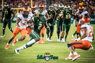 55 - Illinois vs. USF 2017 - USF RB D'Ernest Johnson chased by Del-Shawn Phillips Ahmari Hayes by Dennis Akers | SoFloBulls.com (5411x3612)