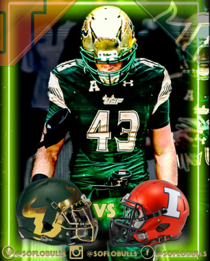 USF LB Auggie Sanchez USF vs. Illinois Football 2017 Match-up Edit by Dennis Akers | SoFloBulls.com (640x794)