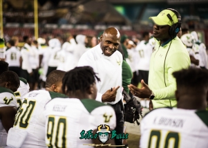 143 - Tulsa vs. USF 2017 - USF HC Charlie Strong DC Brian Jean-Mary DT Kevin Kegler Kevin Bronson Bruce Hector by Dennis Akers | SoFloBulls.com (5526x3947)