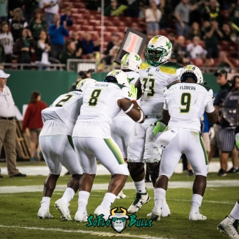 87 - Tulsa vs. USF 2017 - USF WR Tyre McCants TD Celebration with Quinton Flowers D'Ernest Johnson Jeremi Hall by Dennis Akers | SoFloBulls.com (3764x3764)