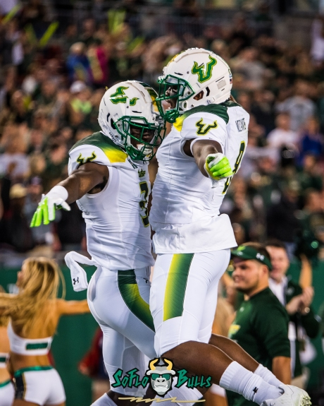 94 - Tulsa vs. USF 2017 - USF WR Darnell Salomon Celebrates TD with Tyre McCants by Dennis Akers | SoFloBulls.com (3148x3935)